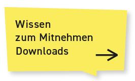 """Eine gelbe Sprechblase. Auf irh steht: """"Wissen zum Mitnehmen - Downloads"""". Sie ist verlinkt. Klickt man auf sie, gelangt man zur Download-Seite, auf der man Materialien downloaden kann."""