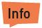 """Eine orangene Sprechblase auf der """"Info"""" steht."""