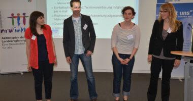 Foto. Von links: Miriam Düber, Marcus Windisch und Christine Dauberschmidt vom ZPE sowie Daniela Eschkotte von der LAG führen die geplanten Telefoninterviews durch und stellen sich vor.
