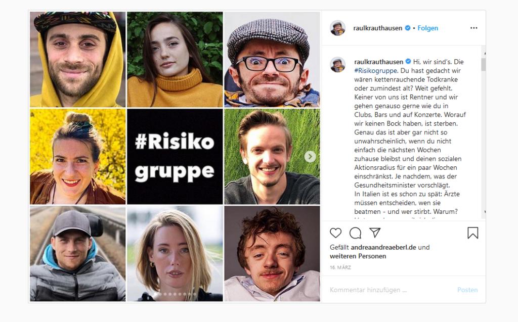 """Ein Instagrampost von Raul Krauthausen. Auf einer Collage sind mehrere Gesichter von Menschen abgebildet. In der Mitte steht auf einer schwarzen Kachel mit weißer Schrift ein Hashtag plus """"Risikogruppe"""". Rechts ist ein Teil des Bildtextes von Raul Krauthausen zu sehen."""