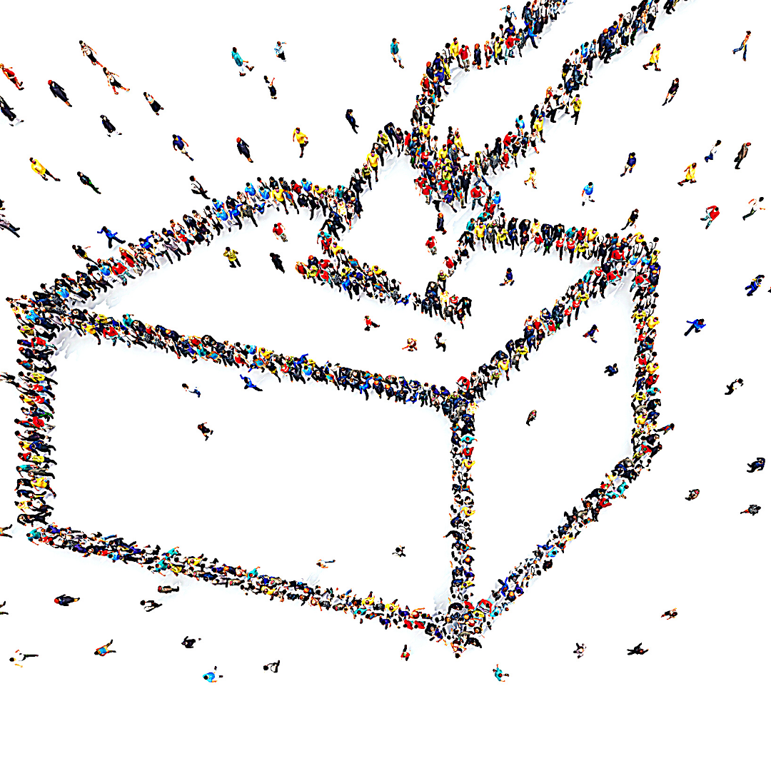 Auf einer weißen Fläche befinden sich die Umrisse einer Wahlbox in die gerade eine Hand einen Zettel einwirft. Die Umrisse bestehen aus vielen Menschen, die wie viele kleine Punkte die Grafik formen.