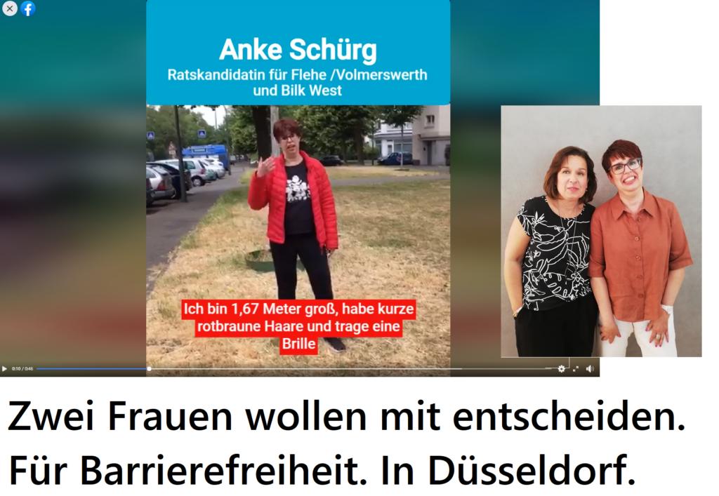 Ein Screenshot aus dem Wahl-Video von Anke Schürk. Auf dem Bild der sprechenden Anke Schürg sind Untertitel zu sehen. Da steht: Ich bin 1,67 Meter groß, habe kurze rotbraune Haare, und trage eine Brille. Zum ganzen Video gelangt man, wenn man auf das Bild klickt.