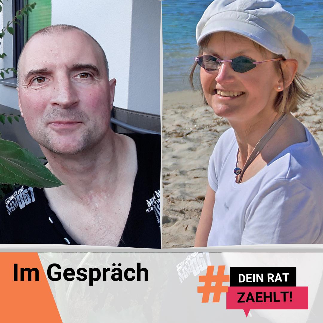 Ralf Bauer und Silke Katzfuß. Darauf der Text: Im Gespräch. DeinRatZaehlt!