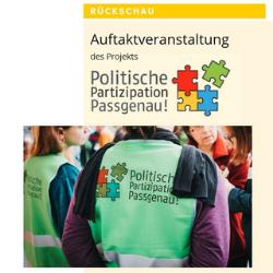 """Vorschaubild: 1. Seite der Broschüre mit dem Text """"Auftaktveranstaltung des Projekts """"Politische Partizipation Passgenau!. Das Bild ist verlinkt und führt bei Klick zur Datei."""