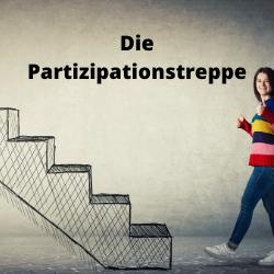 Bild einer gezeichneten Treppe und einer Frau, die in Richtung Treppe läuft und einen Daumen hebt. Oben steht der Text: Die Partizipationstreppe. Das Bild ist verlinkt und führt beim Klick auf die Broschüre zur Partizipationstreppe.