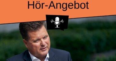 Foto Jürgen Dusel. Es steht geschrieben: Hör-Angebot. Logo DeinRatZählt