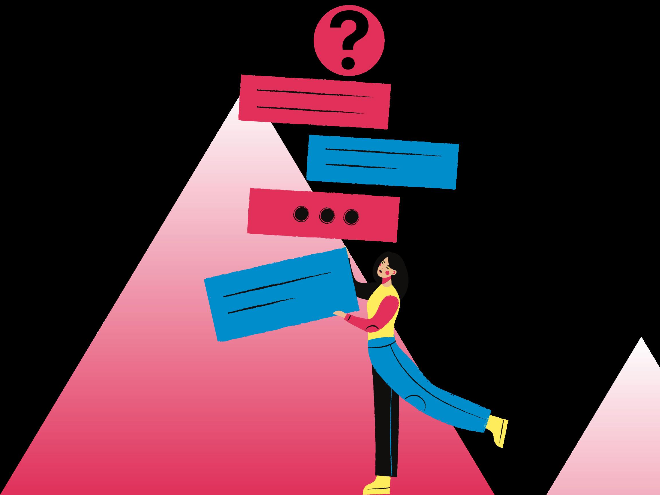 Eine Frau im Comicstil gezeichnet, balanciert mehrere Kästchen, auf denen mit Strichen und Punkten Texte angedeutet werden. Ganz oben auf den Kästchen befindet sich ein Kreis mit einem Fragezeichen. Man könnte es so deuten, als würde die Frau eine Menge Fragen mit sich tragen - gleichzeitig ist sie aber beschwingt und locker.
