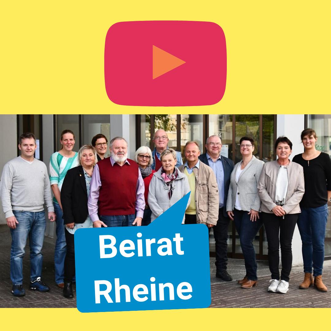 Oben ist das YouTube Symbol zu sehen. Darunter ein Foto des Behindertenbeirats Rheine. Darunter steht in einer Sprechblase geschrieben: Beirat Rheine.
