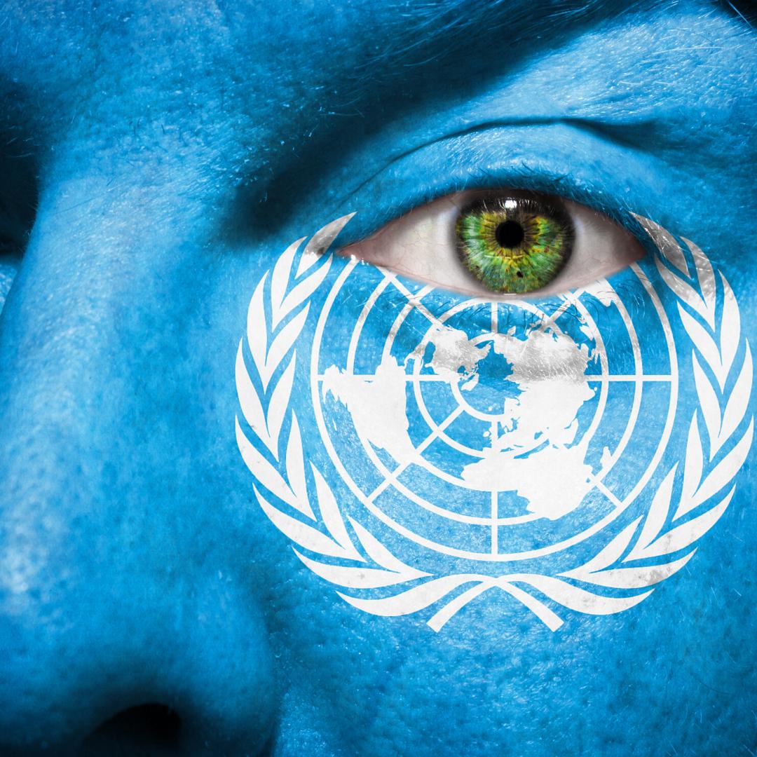 Ein Ausschnitt eines komplett blau geschminkten Gesichts. Man sieht ein Auge und einen Teil der Nase. Unter dem Auge ist die Flagge der Vereinten Nationen gemalt.
