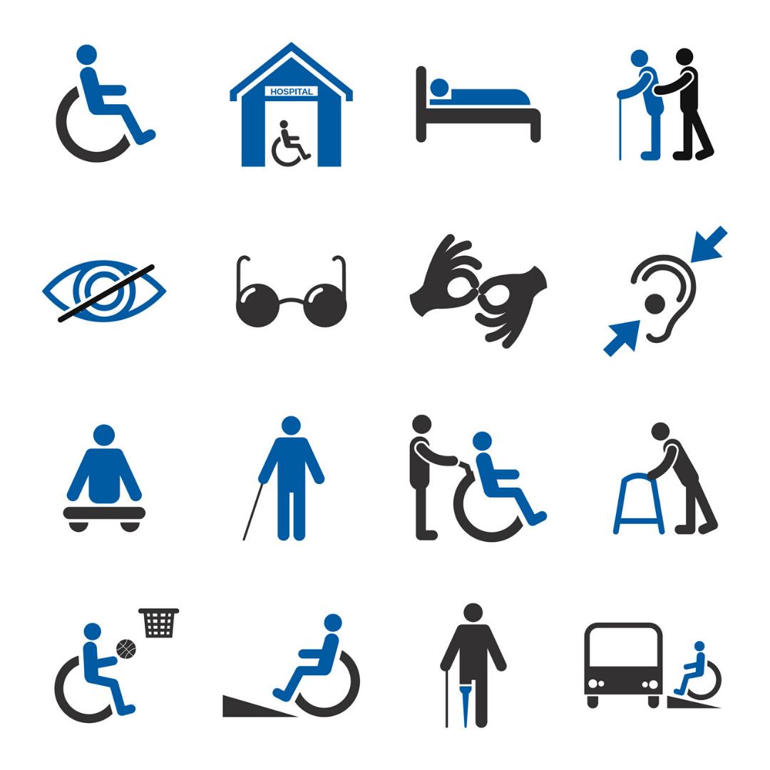 Symbole für unterschiedliche Behinderungen