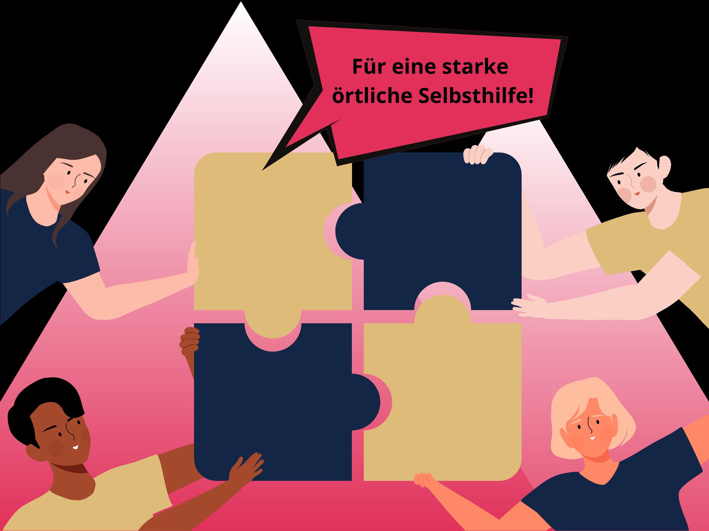 Vier Personen im Comic-Stil halten je ein Puzzle in die Bildmitte. Zusammen ergeben die Puzzleteile ein Ganzes. Aus den Puzzleteilen geht eine Sprechblase hervor, auf der steht: Für eine starke öffentliche Selbsthilfe.