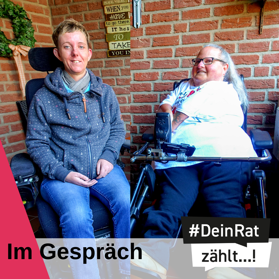 Es steht geschrieben: Im Gespräch. Logo DeinRatZählt. Foto von Frau Lemkens und Frau Hanisch.
